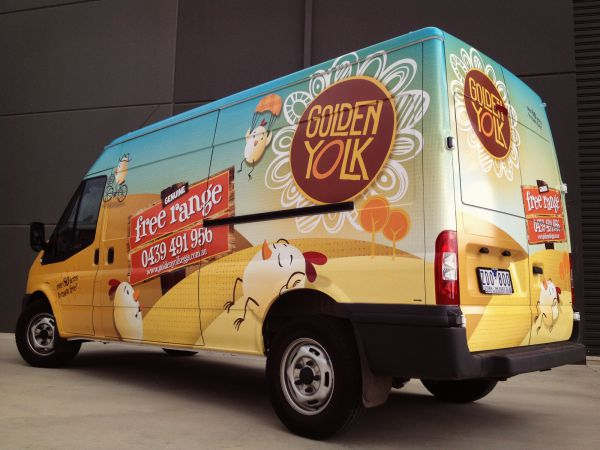 Vehicle Wraps - Golden Yolk Transit Van - SignMob (Bendigo, VIC)