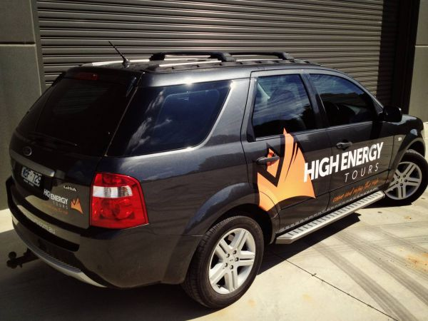 High Energy Tours Vehicle Vinyl Cut Lettering