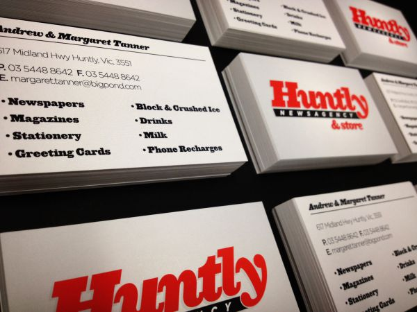 huntly newsagency business cards graphic design and printing