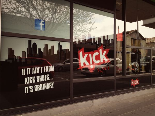 Kick Shoes Shopfront Window Signwriting - SignMob (Bendigo)